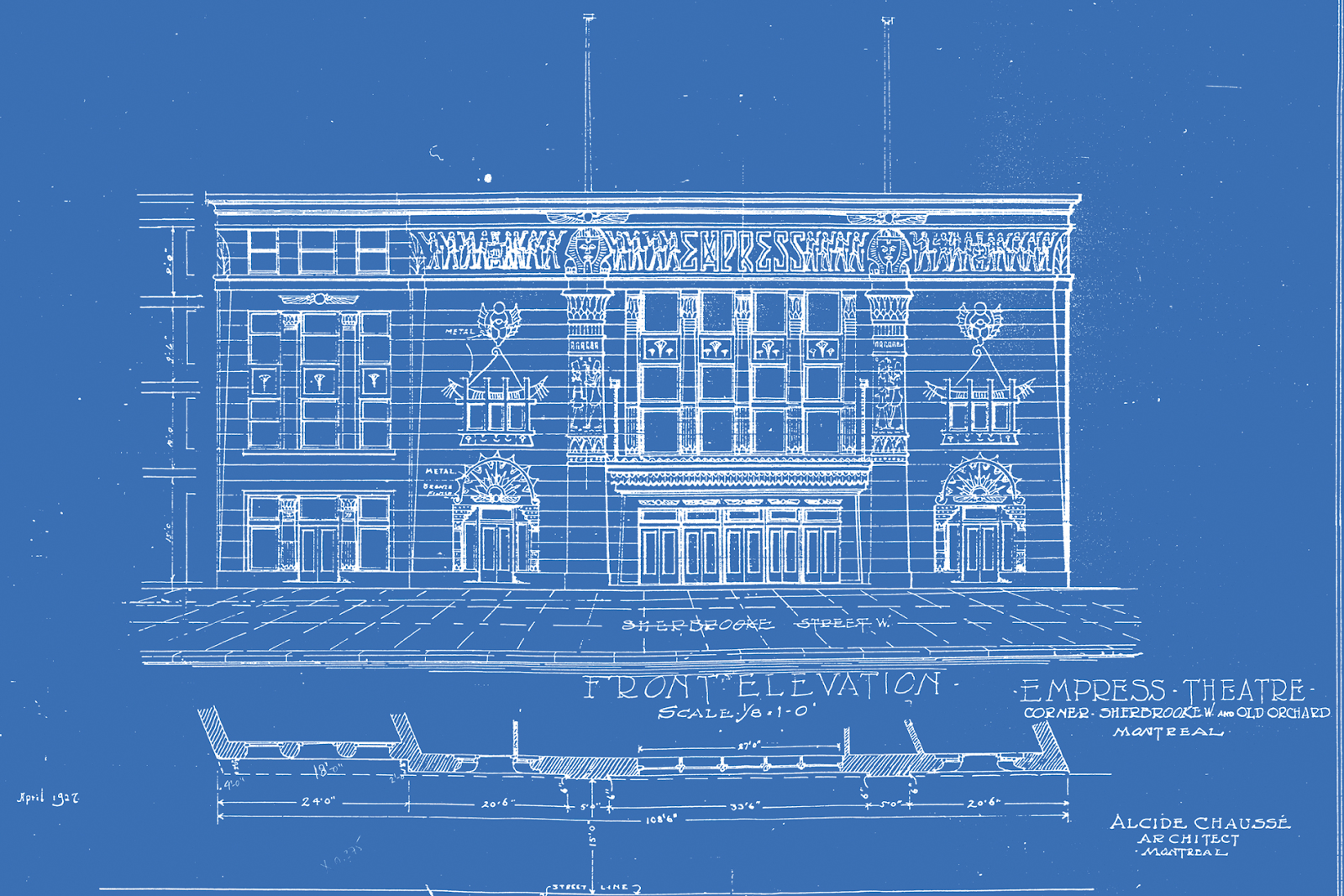 Original blueprint for Empress Theatre in Montreal
