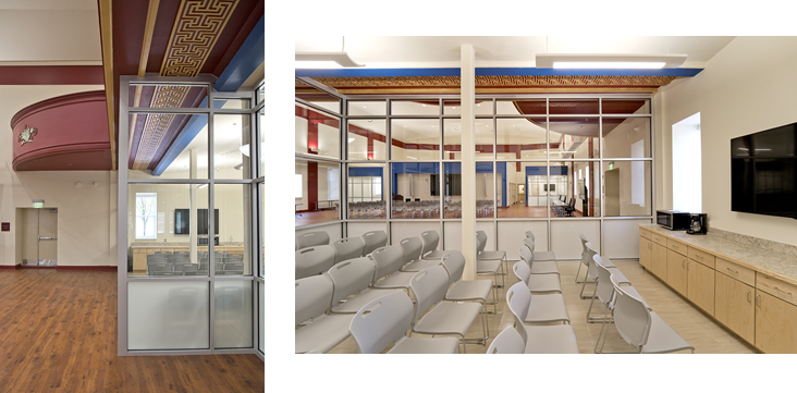 Peeks at historic details of the Belnord Theatre through modernized classrooms and space.