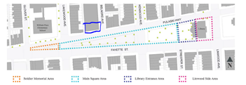 Overview of Library Square and location of Belnord Theatre