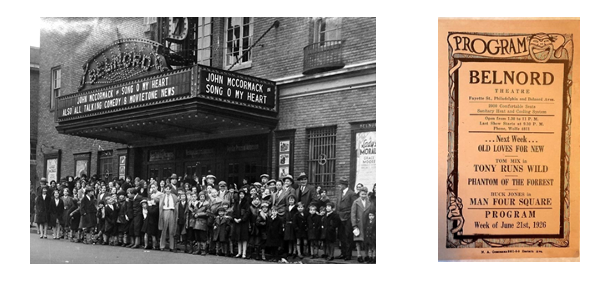 Photograph from 1920's era Belnord Theatre and 1926 program